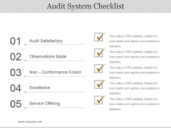 Audit System Checklist Ppt PowerPoint Presentation Background Image