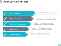 Audit System Checklist Ppt PowerPoint Presentation Graphics
