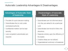 Autocratic Leadership Advantages And Disadvantages Ppt PowerPoint Presentation Images