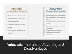 Autocratic Leadership Advantages And Disadvantages Ppt PowerPoint Presentation Portfolio