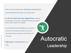 Autocratic Leadership Ppt PowerPoint Presentation Inspiration