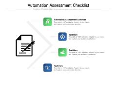 Automation Assessment Checklist Ppt PowerPoint Presentation Ideas Skills Cpb Pdf