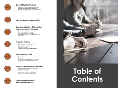 Automation Techniques And Solutions For Business Table Of Contents Ppt Infographics Format PDF