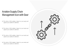 Aviation Supply Chain Management Icon With Gear Ppt PowerPoint Presentation Show Demonstration