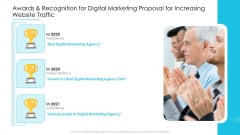 Awards And Recognition For Digital Marketing Proposal For Increasing Website Traffic Clipart PDF
