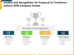 Awards And Recognition For Proposal To Transform Culture With Company Events Ppt Professional Rules PDF