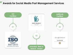 Awards For Social Media Post Management Services Ppt PowerPoint Presentation Pictures Slide Download PDF