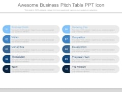 Awesome Business Pitch Table Ppt Icon