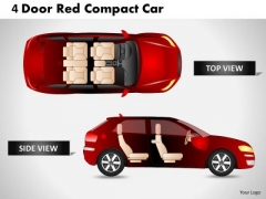 Abstract 4 Door Red Car Top View PowerPoint Slides And Ppt Diagram Templates