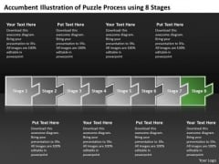 Accumbent Illustration Of Puzzle Process Using 8 Stages Ppt Vision Office PowerPoint Templates