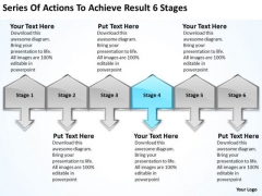 Actions To Achieve Result 6 Stages Steps Writing Business Plan PowerPoint Templates