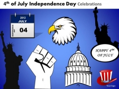 American Independence Icons PowerPoint Slides