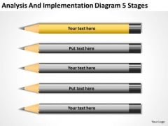 Analysis And Implementation Diagram 5 Stages Business Plan Format Template PowerPoint Slides