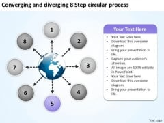 And Diverging 8 Step Circular Process Flow Chart PowerPoint Templates