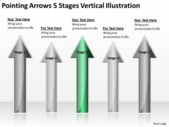 Applications Of Parallel Processing Arrow 5 Stages Vertical Illustration Ppt PowerPoint Slides