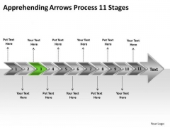 Apprehending Arrows Process 11 Stages Business Create Flowchart PowerPoint Templates