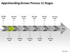 Apprehending Arrows Process 11 Stages Create Flowchart PowerPoint Templates