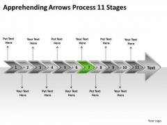 Apprehending Arrows Process 11 Stages Planning Flow Chart PowerPoint Templates