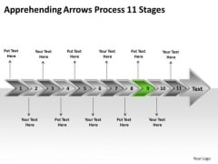 Apprehending Arrows Process 11 Stages PowerPoint Flow Charts Slides