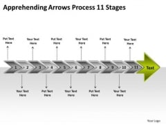 Apprehending Arrows Process 11 Stages Technical Drawing PowerPoint Templates