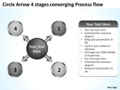 Arrow 4 Stages Converging Process Flow Circular Network PowerPoint Slides