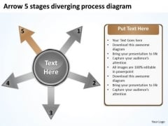 Arrow 5 Stages Diverging Process Diagram Circular PowerPoint Templates