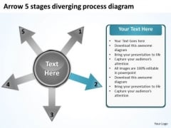 Arrow 5 Stages Diverging Process Diagram Target PowerPoint Templates
