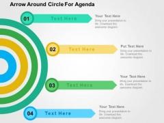 Arrow Around Circle For Agenda PowerPoint Template