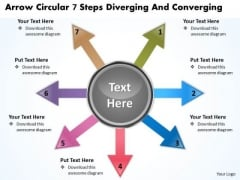 Arrow Circular 7 Steps Diverging And Converging Pie Chart PowerPoint Templates