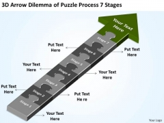 Arrow Dilemma Of Puzzle Process 7 Stages Steps For Writing Business Plan PowerPoint Slides