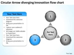 Arrow Diverging Innovation Flow Chart Circular Process Diagram PowerPoint Templates