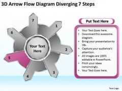 Arrow Flow Diagram Diverging 7 Steps Relative Circular Network PowerPoint Slides