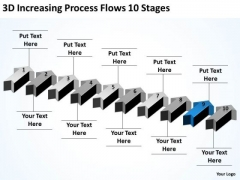 Arrow For PowerPoint 3d Increasing Process Flows 10 Stages Slides