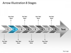 Arrow Illustration 8 Stages Business Flow Chart Slides PowerPoint