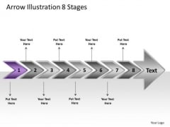 Arrow Illustration 8 Stages Flow Chart Slides PowerPoint