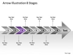 Arrow Illustration 8 Stages Open Source Flowchart PowerPoint Slides
