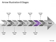 Arrow Illustration 8 Stages Ppt Flow Charting PowerPoint Slides