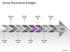 Arrow Illustration 8 Stages Process Flow Charts Examples PowerPoint Slides