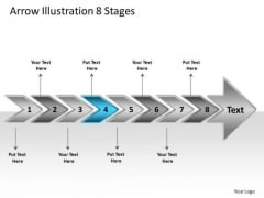 Arrow Illustration 8 Stages Visio Templates PowerPoint