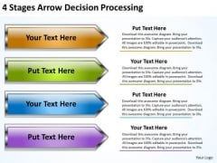 Arrow In PowerPoint 4 Stages Decision Processing Slides