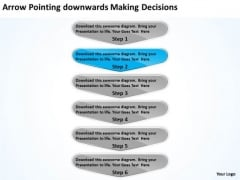 Arrow Pointing Downwards Making Decisions Business PowerPoint Flow Charts Slides