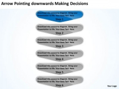Arrow Pointing Downwards Making Decisions Business Process Flow Chart PowerPoint Templates