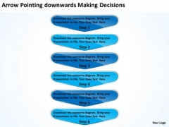 Arrow Pointing Downwards Making Decisions Flowchart Application PowerPoint Templates