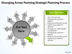 Arrow Pointing Strategic Planning Process Arrow Circular Flow Layout Network PowerPoint Slides