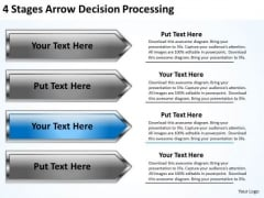 Arrow PowerPoint 4 Stages Decision Processing Slides