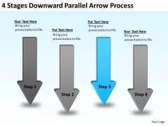 Arrow PowerPoint Template 4 Stages Downward Parallel Process Slides