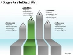 Arrow PowerPoint Template 4 Stages Parallel Steps Plan Templates