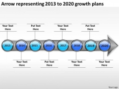 Arrow Representing 2013 To 2020 Growth Plans PowerPoint Templates Ppt Slides Graphics