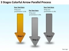 Arrow Shapes For PowerPoint 3 Stages Colorful Parallel Process Slides