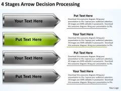 Arrow Shapes For PowerPoint 4 Stages Decision Processing Slides